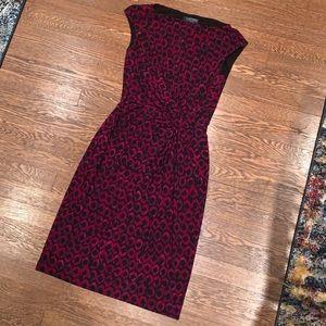 Ralph Lauren Sleeveless Pink/Black Ruched Dress